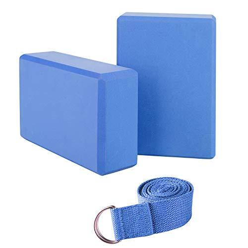 JIM'S STORE 2pcs Yoga Blöcke mit 1.8m Yogagurt, Yogablock/Yoga-Block Set Yoga und Pilates Training Dehnübungen für Anfänger und Fortgeschrittene (Blau)