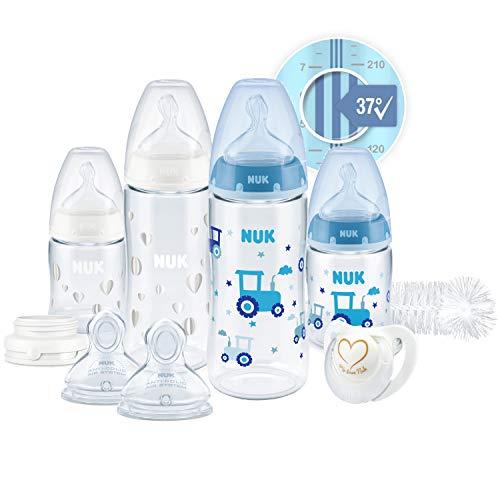 NUK First Choice+ Perfect Start Babyflaschen Set | Erstausstattung mit 4 Temperature Control Anti-kolic Babyflaschen (2x 150ml & 2x 300ml), Flaschenbürste & mehr |...