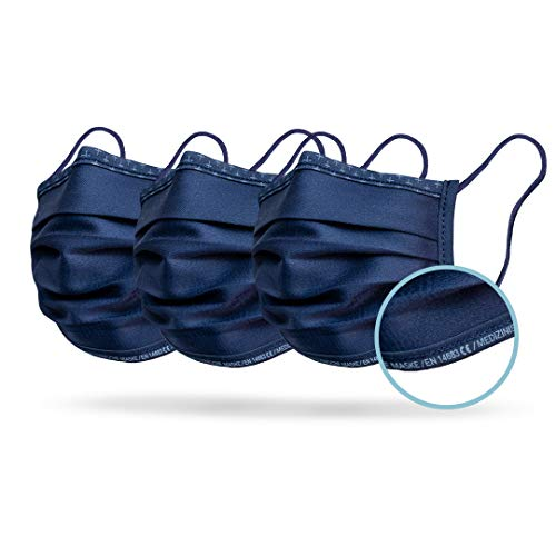 Isko Vital+ Supreme CE & EN 14683 Typ I Zertifizierte Medizinische Masken - Waschbare, wiederverwendbare Gesichtsmasken aus Bio-Baumwolle - 3er Pack - Blau - 14+...