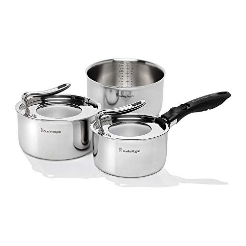 Stanley Rogers Frying pans set CLEVER Stack, stew pan Ø 28 cm with lid, frying pan Ø 26 cm, removable handle, stackable & space saving (color: ...
