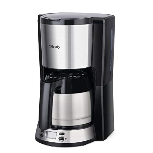 Kaffeemaschine mit thermoskanne, Sboly Filterkaffeemaschine mit Thermo-Kanne, kaffeemaschine mit programmierbarer Kaffeebrüher, einstellbar von 2-8 Tassen,...