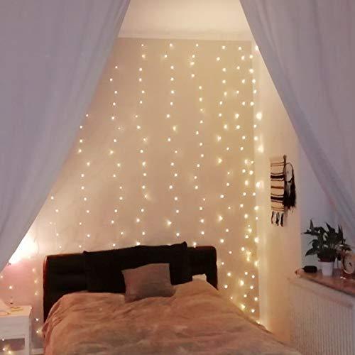 LE Lichtervorhang 3 * 3m, Lichterketten Vorhang 300 LEDs Warmweiß mit Haken und Anhänger, 8 Modi Dimmbar Kupferdraht, Lichterkette mit Stecker für Party...
