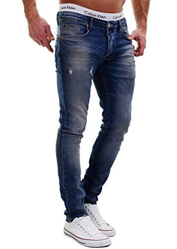 MERISH Jeans Herren Destroyed Hose Used-Look Jeanshose Männer Denim 2081-1001 (31-32, 1003 Blau)