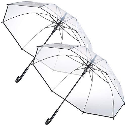 Carlo Milano Schirm: 2er-Set transparente Stock-Regenschirme, Stahl & Fiberglas, Ø 100 cm (Regenschirm durchsichtig)