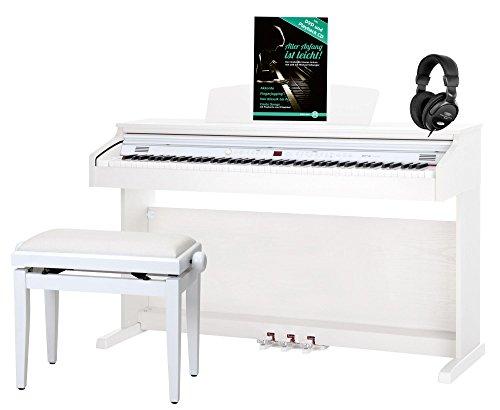 Classic Cantabile DP-50 WM E-Piano SET (Digitalpiano mit Hammermechanik, 88 Tasten, 2 Anschlüsse für Kopfhörer, USB, LED, 3 Pedale, Piano für Anfänger,...