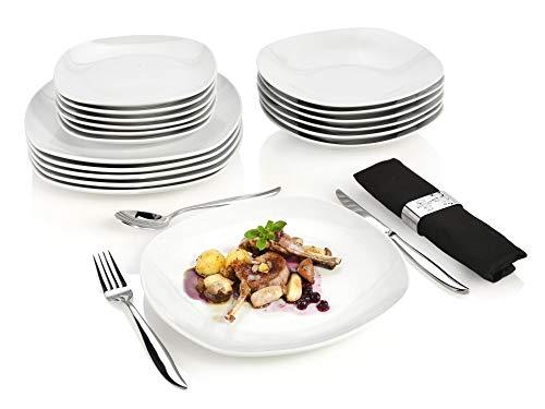 Sänger Tafelservice Bilgola 18 teiliges Geschirr-Service für 6 Personen, weißes Teller-Set aus Porzellan mit Servierteller, Suppenteller und Dessertteller, eckige...