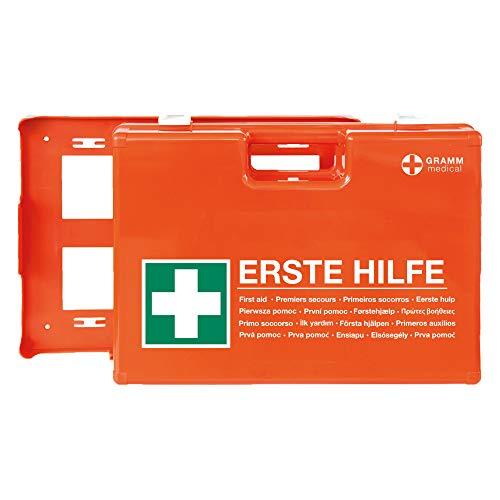 ACTIOMEDIC Mobiler und stationärer Erste-Hilfe-Kasten mit Wandhalterung zur Aufbewahrung, DOMINO DIN 13 157 I Hypoallergene Pflaster, mehrsprachig, Visuelle...
