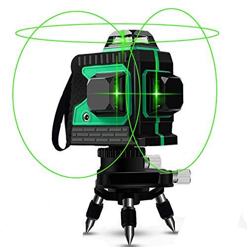 Kreuzlinienlaser 25M, Careslong 3 x 360 grüner Laserpegel selbstausgleichende, grüner Strahl 3D 12 Linien, IP 54 Selbstnivellierende Vertikale und Horizontale...