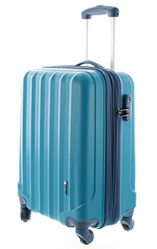Pianeta hand luggage suitcase Ibiza (size MI 55x36x24cm) - 4 wheels hard shell trolley with 360 ° rotation, combination lock, telescopic style, berry