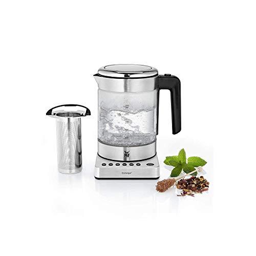 WMF Küchenminis 2 in 1 Vario Wasserkocher, mit Temperatureinstellung, 1,0l, 1900 W, Teekocher Glas mit Teebeutelhalter und Sieb