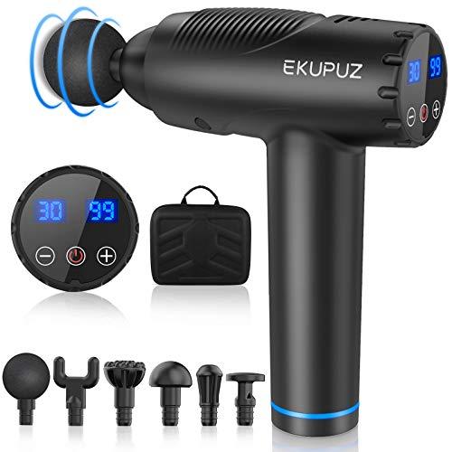 EKUPUZ Massagepistole Massagegerät für Nacken Schulter Rücken Massage Gun mit 30 Geschwindigkeiten und 6 Massageköpfen Muskelmassagepistole für Fitnessstudio,...