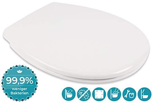 Calmwaters WC Sitz Toilettendeckel, Eingetragene Marke - Made in EU, antibakteriell mit Absenkautomatik, abnehmbar, Premium Toilettensitz, Edelstahl-Befestigung,...