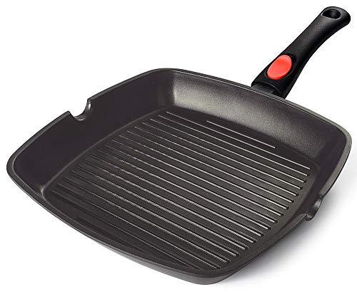 AIGLEFEU 28x28 cm Grillpfanne Induktion mit Ausguss und Abnehmbarem Griff, PFOA-freie, Antihaft Aluminiumguss Steakpfanne,kann auf Einer Induktionsbasis von...