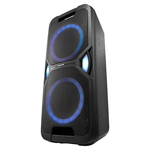 MEDION P67038 party sound system (party speaker, karaoke, battery, FM radio, Bluetooth 5.0, compact system, 2X 220 watts, colored LED, USB, AUX, 2X microphone connection)