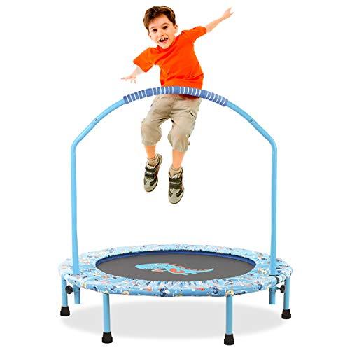 LBLA ø 38 tuuman trampoliini, säädettävällä kaidella ja pehmustetulla päällysteellä, taitettava mini, lasten trampoliini sisätiloissa kahvalla (110 KG)