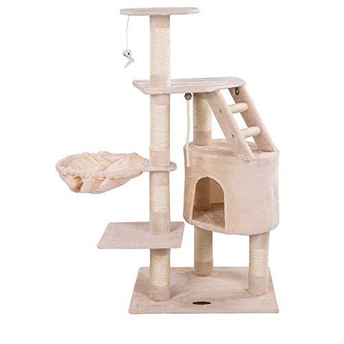 Happypet® raapimispuu kissoille keskikokoinen, 120 cm korkea, kiipeilypuukissapuu, CAT017-4-vakaa pylväs, luonnollisella sisalilla, halkaisijaltaan noin 8 cm, riippumatto, talo, ...