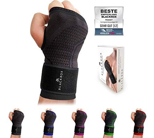 BLACKROX wrist bandage Fitness V2, for women and women Men, right or left hand, wrist support, stabilized wrist guards, wrist wraps, ...