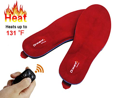 Dr.Warm Beheizbare Einlegesohlen Thermosohlen mit Intelligentem Drahtlose Fernbedienung, USB Wiederaufladbar Schuheinlagen für Skifahren Wandern Angeln Unisex (L...