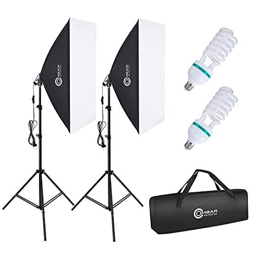 OMBAR Softbox Set Fotostudio 50×70cm, professionelle Fotografie mit 135 W 5500K E27-Tageslichtlampe und Tragetasche für Studio-Porträts Videoaufnahmen, Modefotos....