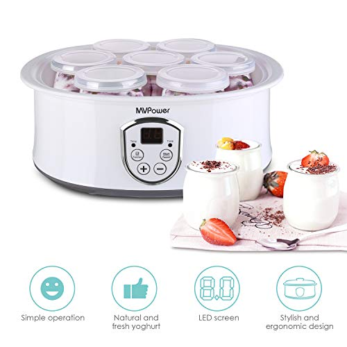 MVPower Joghurtbereiter elektrischer Joghurt-Maker joghurtmaschine mit LCD Display/Temperaturregelung/Timer/einfach zu reinigen/Überhitzungsschutz/Edelstahlrahmen/7...