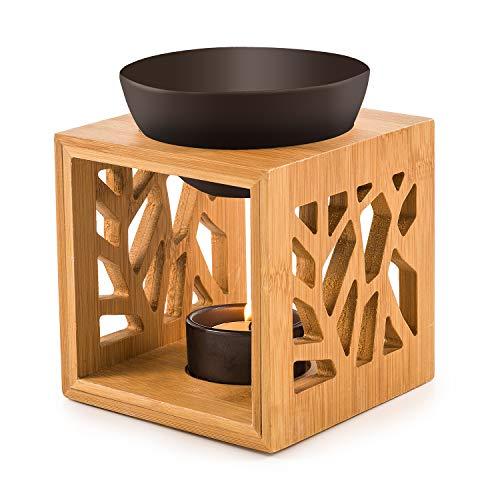 pajoma Bambus/Keramik Duftlampe''Pattern II'' in schwarz, L 12 x B 12,2 x H 12 cm