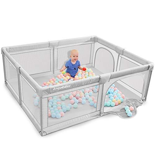 ANGELBLISS Laufstall Baby Laufgitter Absperrgitter mit atmungsaktivem Netz Schutzgitter Krabbelgitter für Kinder, große Sicherheitsspielplatz, Grau,