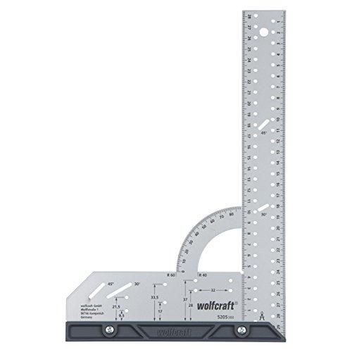 Wolfcraft Universalwinkel 5205000 / Winkelmesser mit 300 mm Schenkellänge zum präzisen Anreißen & Zeichnen mit 90° Anschlagwinkel und abnehmbarer Winkelschiene