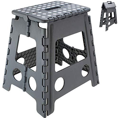 Tritthocker Klapphocker bis 120 kg Hocker Grau Kinderhocker 40 x 39 x 31cm (HxBxT) Trittbank Sitzhocker klappbar Klappstuhl Stufe für Kinder und Senioren