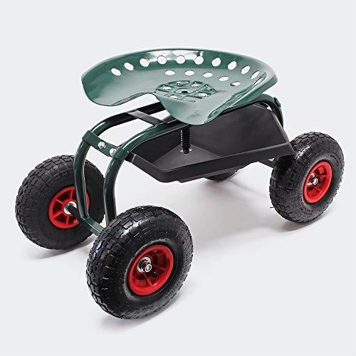 Wiltec Rollsitz Werkstattwagen bis 150kg belastbar Gartenwagen Fahrbar Rollwagen Arbeitssitz Gartensitz