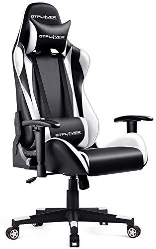 GTPLAYER Gaming Stuhl Bürostuhl Schreibtischstuhl Kunstleder Drehstuhl Chefsessel Höhenverstellbarer Gamer Stuhl Ergonomisches Design (Weiß)