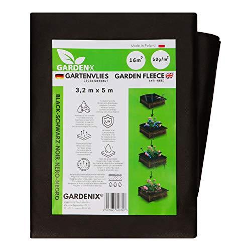 GARDENIX® 16 m² Anti Unkrautvlies 50g/m² ‒ Gartenvlies Hohe UV-Stabilisierung reißfest und wasserdurchlässig Schwarz (3,2m x 5m)