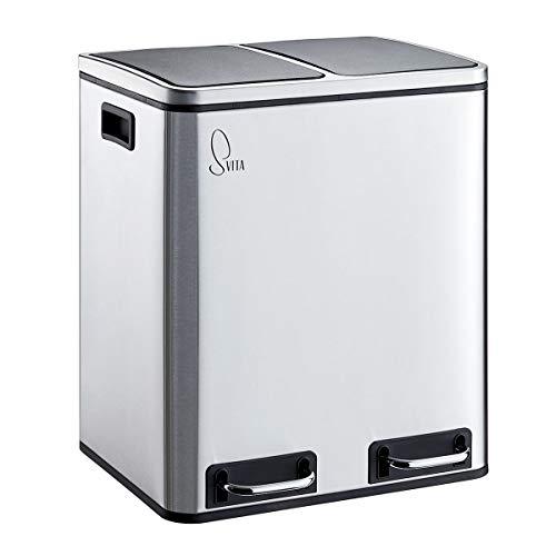 SVITA TM2X15 Edelstahl Treteimer 30 Liter Abfalleimer Mülleimer Design Silber Mülltrennung Papierkorb Küchen-Ordnung Trennsystem