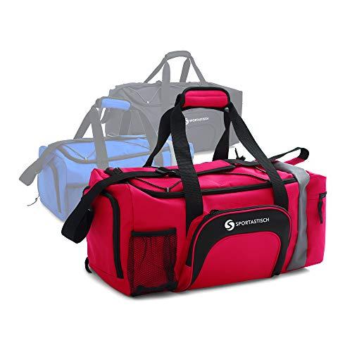 Sportastisch Reisetasche Sporttasche Premium Sporty Bag | ROT | Große (L) bis kleine (S) Tasche mit zahlreichen Fächern für Frauen, Männer und Kinder | Bis zu 3...