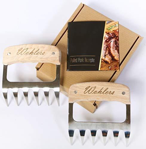 Wohlers Pulled Pork Krallen für saftiges und leckeres Shredder BBQ - Edelstahl Fleisch Bärenkrallen für perfektes Pulled Pork - mit den Fleisch Krallen zur...