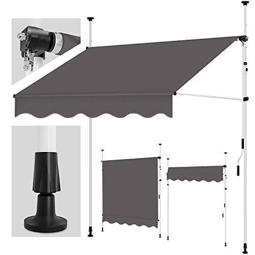 tillvex Klemmmarkise 300 cm Anthrazit mit Handkurbel Balkon | Balkonmarkise ohne Bohren | Markise UV-beständig & höhenverstellbar | Sonnenschutz wasserdicht