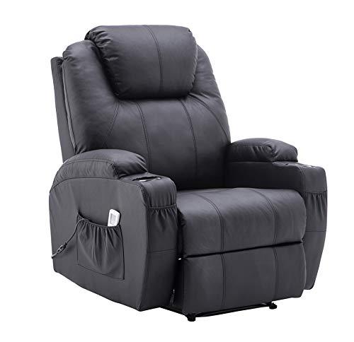 MCombo Elektrisch Relaxsessel Massagesessel Fernsehsessel Liegefunktion Vibration Heizung 7061 neues Modell (Schwarz)