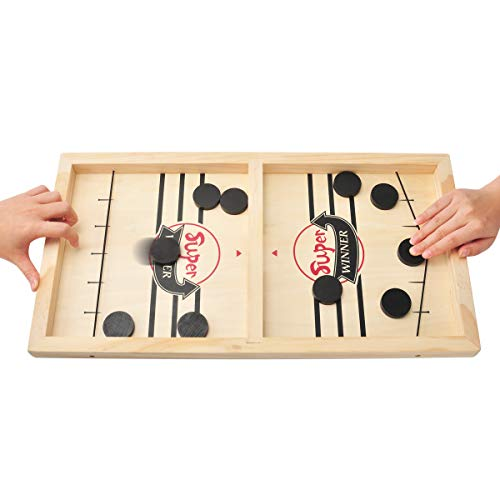 MOMSIV Schnelles Fast Sling Puck-Spiel, Lustiges hölzernes Sling Puck-Gewinner-Brettspiel Brettspiel Tisch Eltern-Kind Interaktives Spielzeug-Partyspiel für...