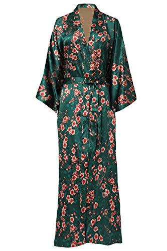 ArtiDeco Naisten aamutakki Maxi pitkä silkki satiini kimono mekko Blossoms Pattern Kimono kylpytakki hyvät pitkät kaapu kukat makuupuku tyttö pyjama juhla 135 cm pitkä mekko