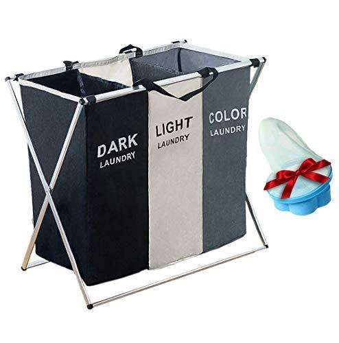 Wäschekorb 3 Fächer Oxford (Gewebe) Premium Upgrade Wäschesammler Aufbewahrungskorb
