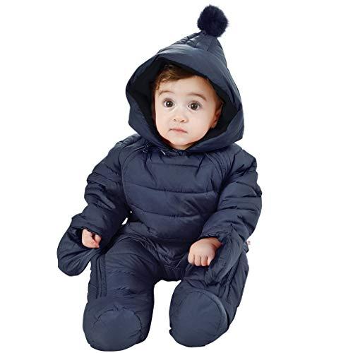 WYTbaby Baby Schneeanzüge Winter Overall mit Kapuze Jungen Strampler Mädchen Spielanzug 9-12 Monate,Dunkel Blau