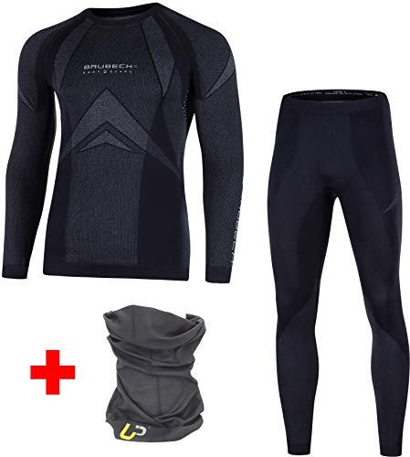 BRUBECK Dry Damen Herren Funktionsunterwäsche Set Lang + Ultrapower Schlauchtuch | LS10180 + LE10160, Größen:M