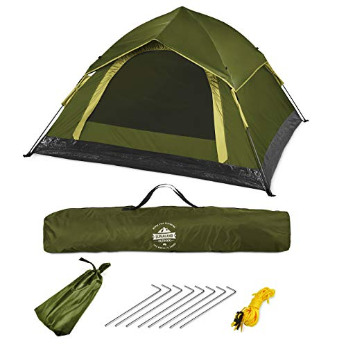 Lumaland Outdoor Lightweight Pop Up Throwing Tent 3 Persons Tent Camping Festival etc. 210 x 190 x 110 cm Sturdy Green