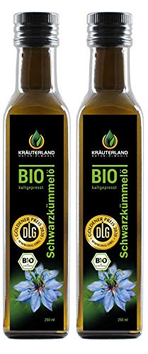 Kräuterland - Bio Schwarzkümmelöl gefiltert 2x250ml- 100% rein, schonend kaltgepresst, ägyptisch, vegan - Frischegarantie: täglich mühlenfrisch direkt vom...