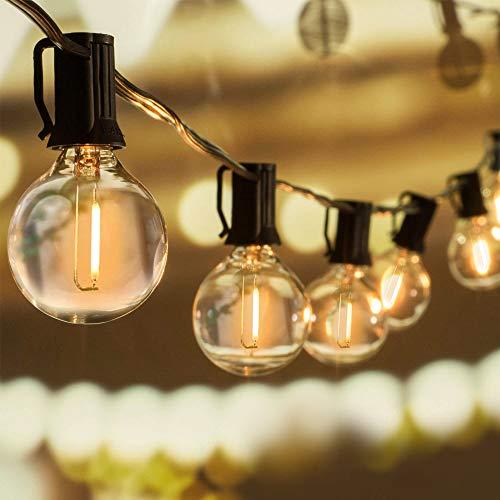 WOWDSGN 30+3 Stk. G40 Glühbirnen Lichterkette Außen, LED Glühlampen Lichterkette für Innen und Außen, Strombetrieben, Wasserdicht, keine Kitze, ideal für...
