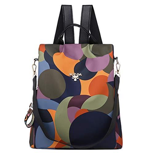 shepretty Damen Anti Diebstahl Rucksack Oxford Umhängetasche Multifunktions Schultaschen, AL911Bunt