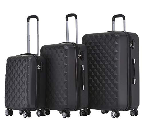 BEIBYE Twin Rolls 2066 Hard Case Trolley Suitcase Travel Case Luggage ML-XL-Set (Black, Set)