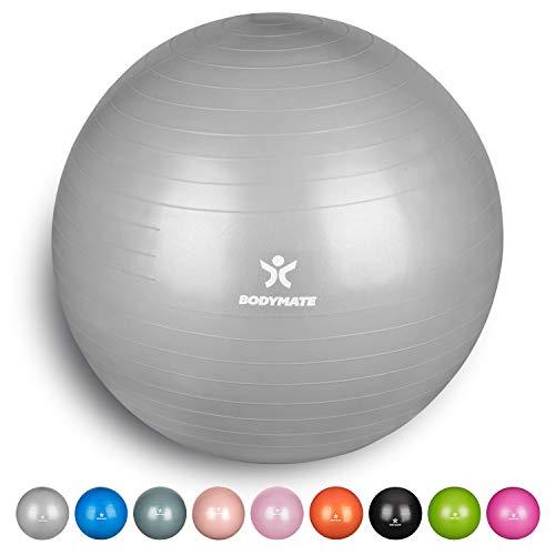BODYMATE Gymnastikball mit GRATIS E-Book inkl. Luft-Pumpe Silber 85cm