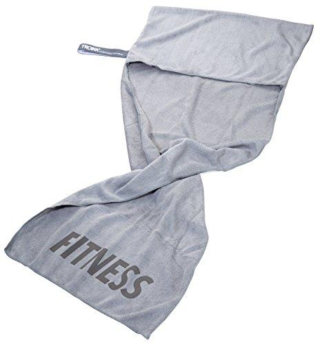 TROIKA Handtuch SCHWITZABLEITER Fitness - TWL03/GY - Mikrofaser Workout-Handtuch - absorbiernd und schnell trocknend - zur Befestigung am Fitnessgerät - grau - das...