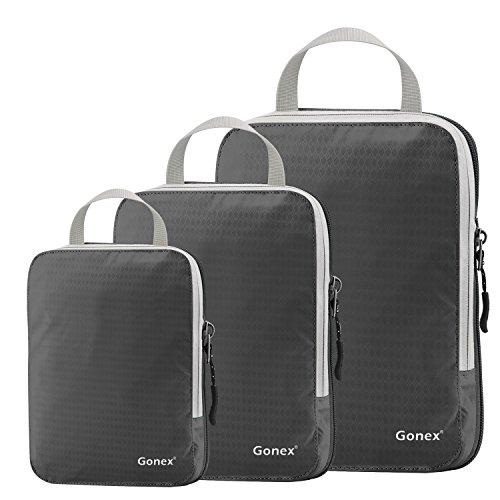 Compression Packing Cubes 3/4er Set, Gonex Kleidertaschen 4-teilig Verpackungswürfel, Kleidertaschen Set, Kofferorganizer Reise Würfel, Grau(3er), SML