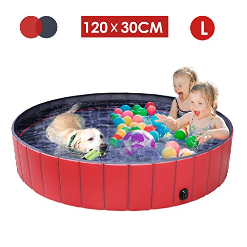 femor Hundepool Swimmingpool Für Hunde und Katzen Schwimmbecken Hund Planschbecken Hundebadewanne Faltbarer Pool mit PVC-rutschfest Verschleißfest Für Kinder Hund...